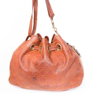 DIOR BROWN CANNAGE DRAWSTRING HOBO BAG